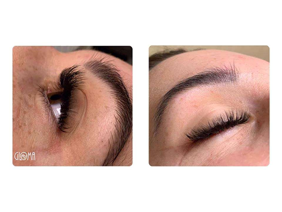 Wimperbehandeling - voluma lashes voor en na